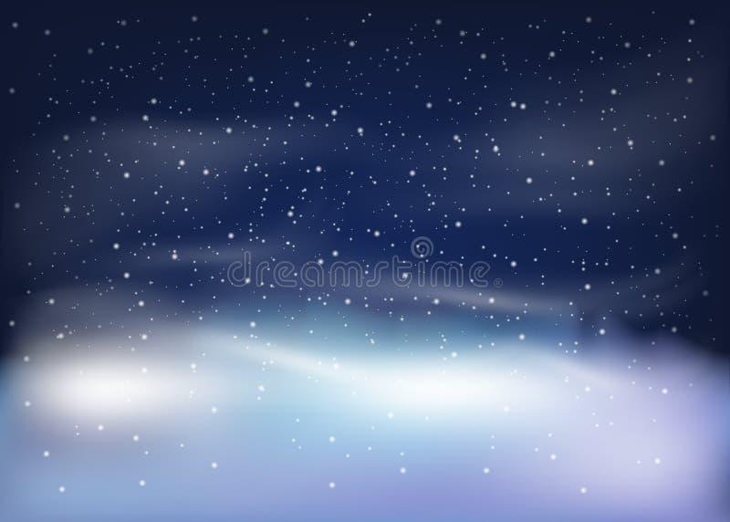 De winterlandschap met dalende sneeuw Kerstmis en Nieuwjaarachtergrond Vector illustratie stock illustratie