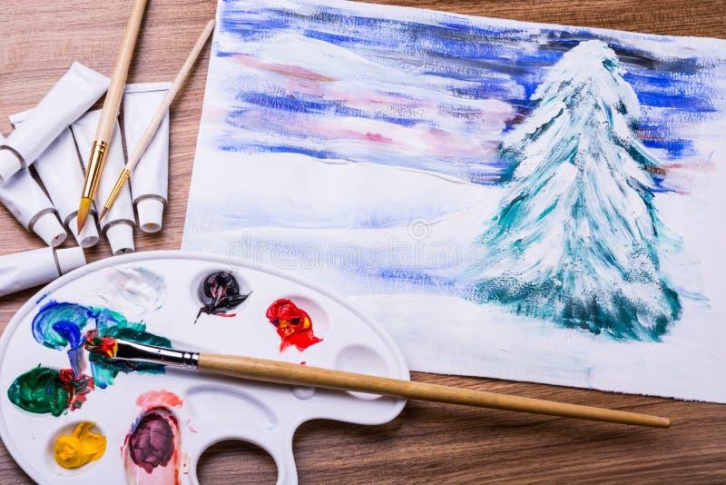 De winterlandschap met een borstel wordt geschilderd die stock fotografie