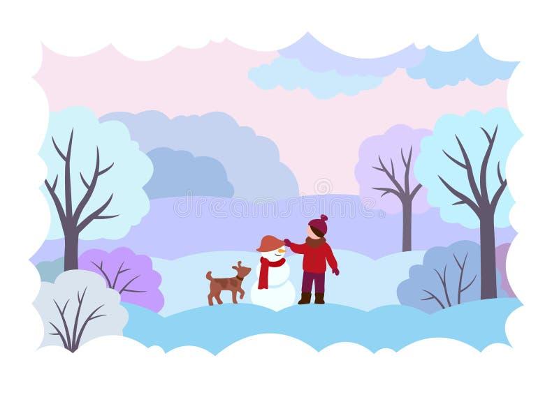 De winterlandschap met een meisje, een hond en een sneeuwman stock illustratie