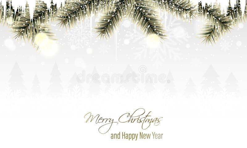 De winterlandschap met gouden takken, sneeuwvlokken, sneeuwval, ijskegels en naaldbomen op de horizon Vrolijke Kerstmis en gelukk royalty-vrije illustratie