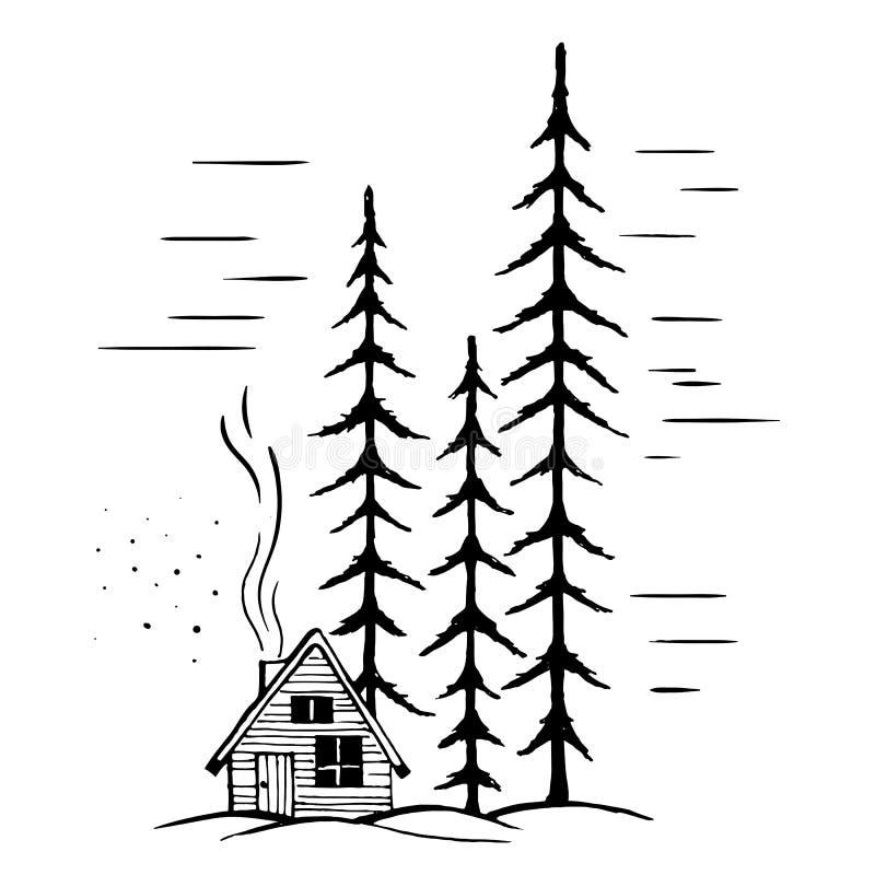 De winterlandschap met hoge sparren vector illustratie