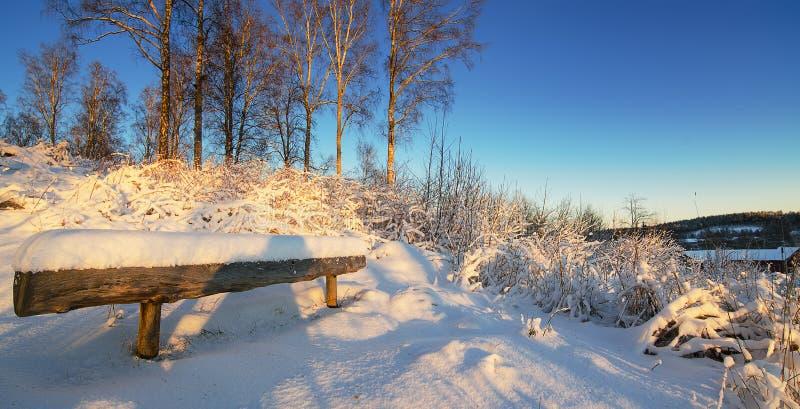 De winterlandschap met houten bank stock afbeeldingen