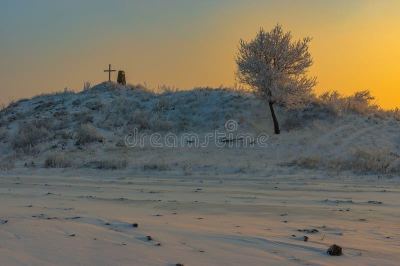 De winterlandschap met oude begrafenishoop met dwars en eenzame abrikozenboom royalty-vrije stock afbeelding
