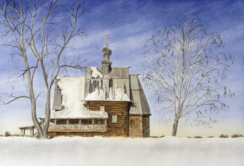 De winterlandschap met oude houten kerk stock foto's