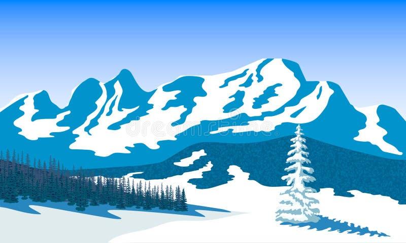 De winterlandschap met silhouetten van bergen en bossneeuw en schaduwen Vector illustratie royalty-vrije illustratie