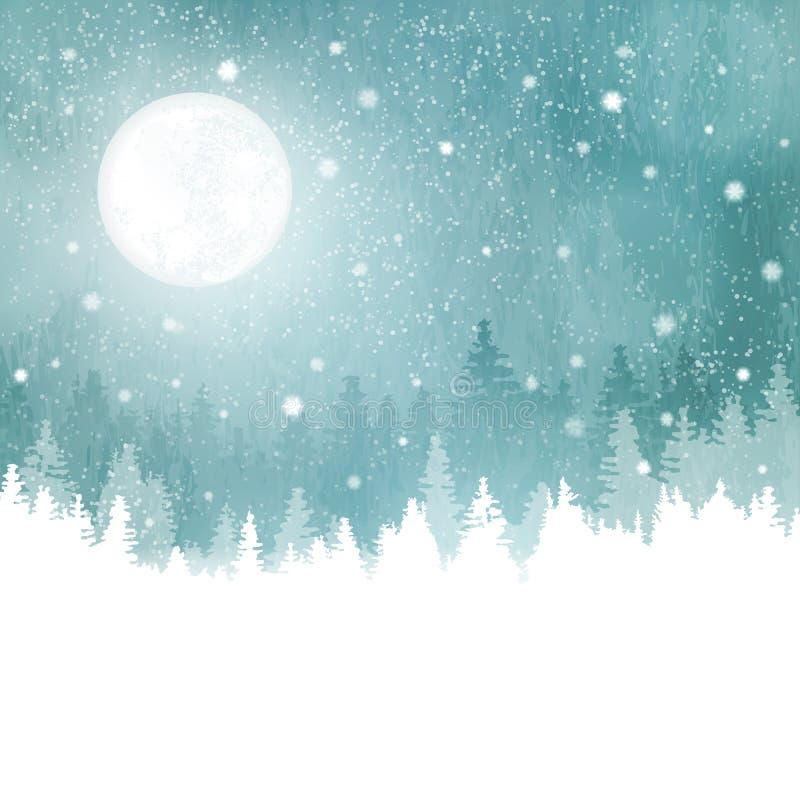 De winterlandschap met sneeuwval, sparren en volle maan stock illustratie