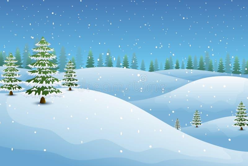 De winterlandschap met sparren en sneeuwheuvels royalty-vrije illustratie