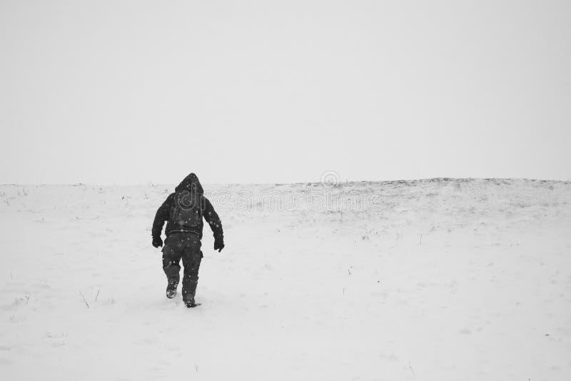 De winterlandschap op de gebieden met mensen die van de sneeuw genieten stock fotografie