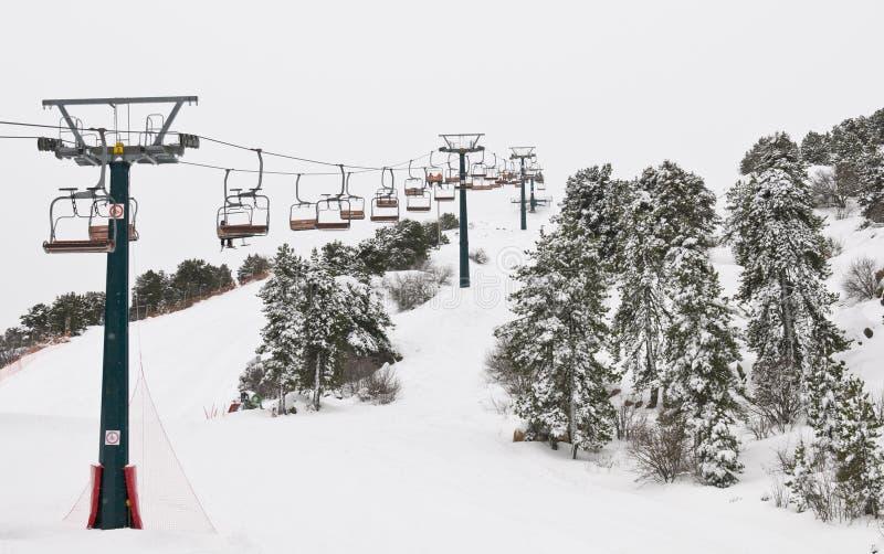 De winterlandschap, skitoevlucht stock afbeeldingen