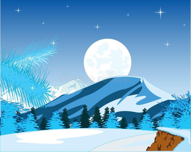 De winterlandschap van de bergen en het hout in de nacht royalty-vrije illustratie