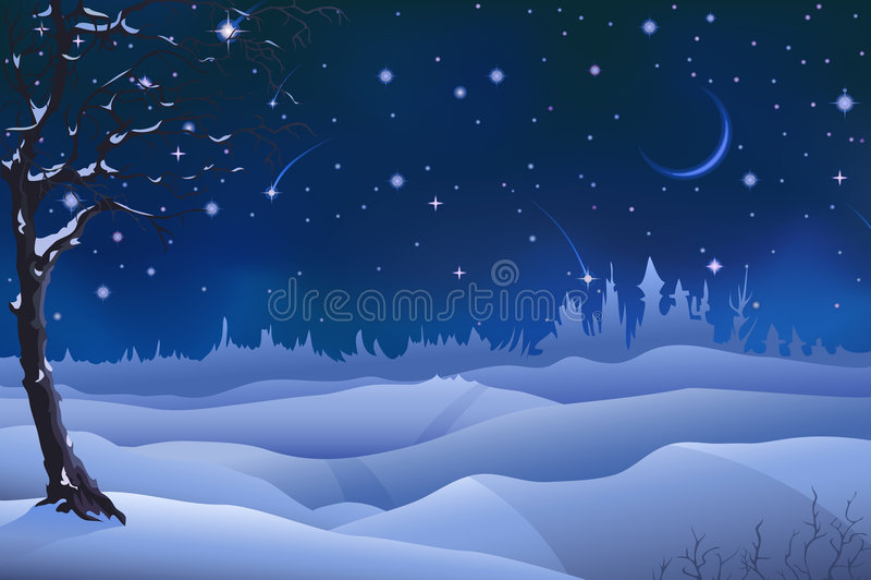 De winterlandschap van de avond stock illustratie