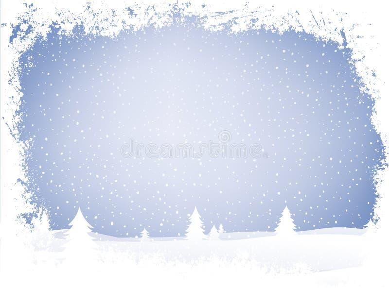 De winterlandschap van Grunge vector illustratie