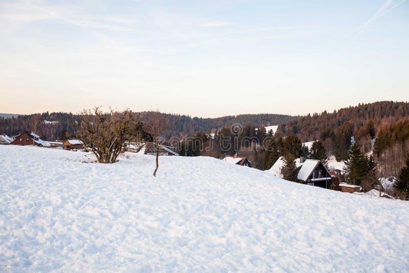 De winterlandschap van harz stock afbeelding