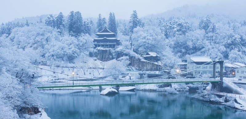 De winterlandschap van Japan bij Mishima-stad royalty-vrije stock fotografie