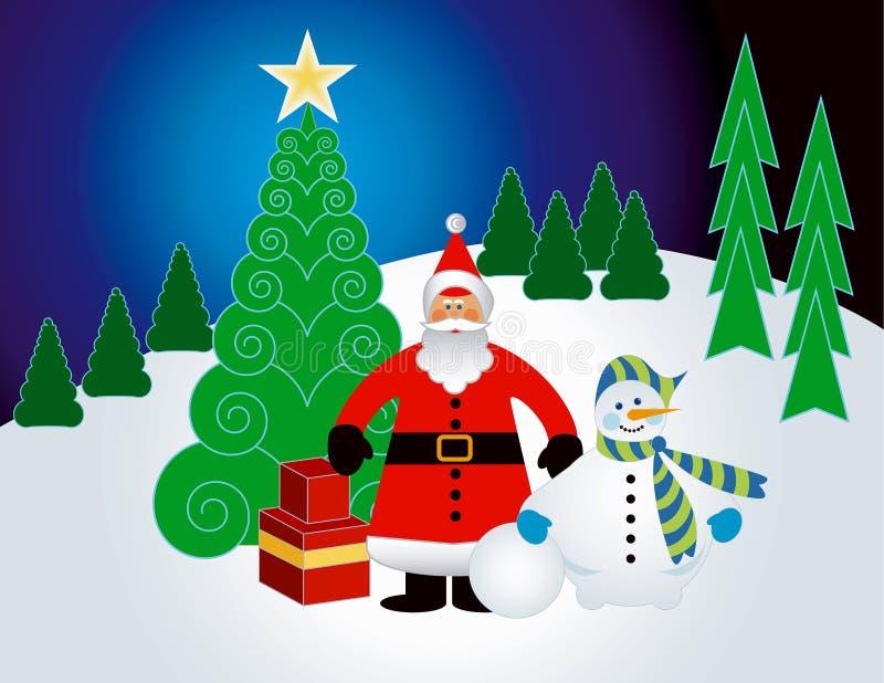 De winterlandschap van Kerstmis royalty-vrije illustratie
