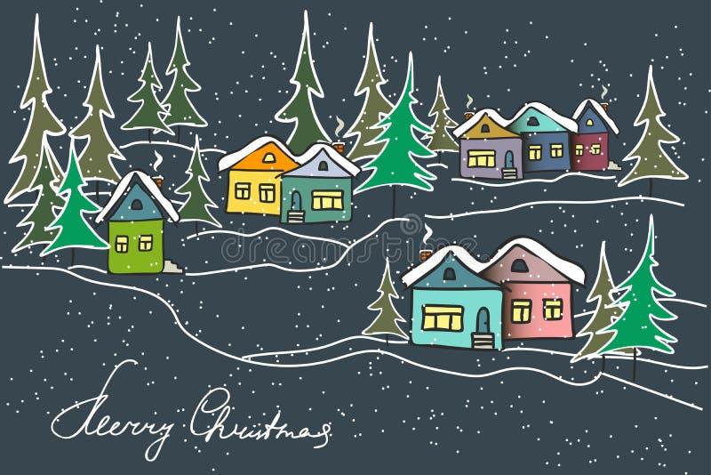 De winterlandschap van de nacht Karamel multicolored huizen, sparren stock illustratie
