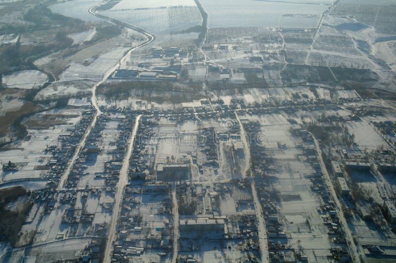De winterlandschap van de stad van hoogten stock afbeelding