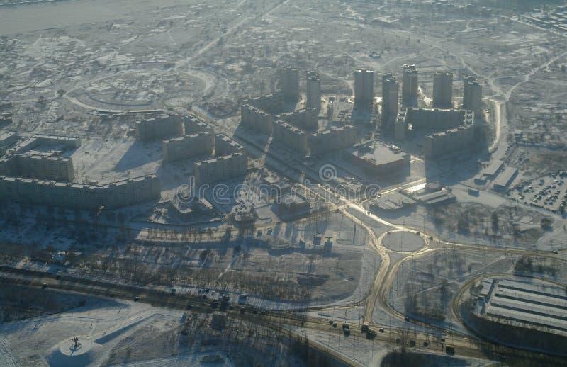 De winterlandschap van de stad van hoogten royalty-vrije stock foto's