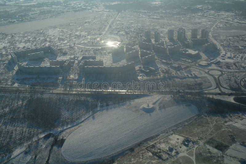 De winterlandschap van de stad van hoogten stock foto