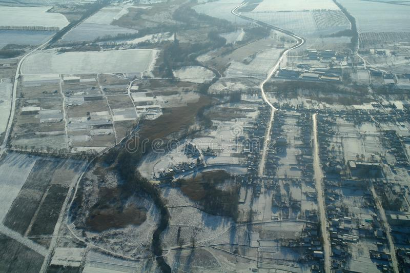 De winterlandschap van de stad van hoogten stock foto's