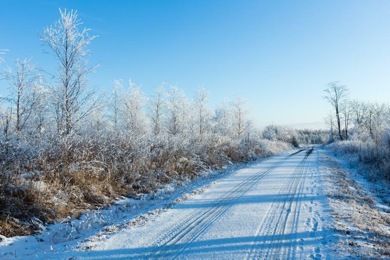 De winterlandweg (Polen) royalty-vrije stock afbeeldingen