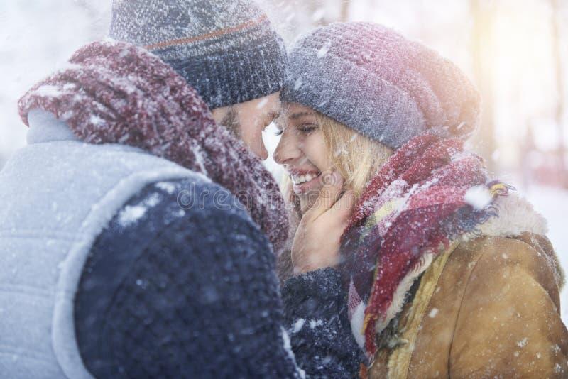 De winterliefde stock foto