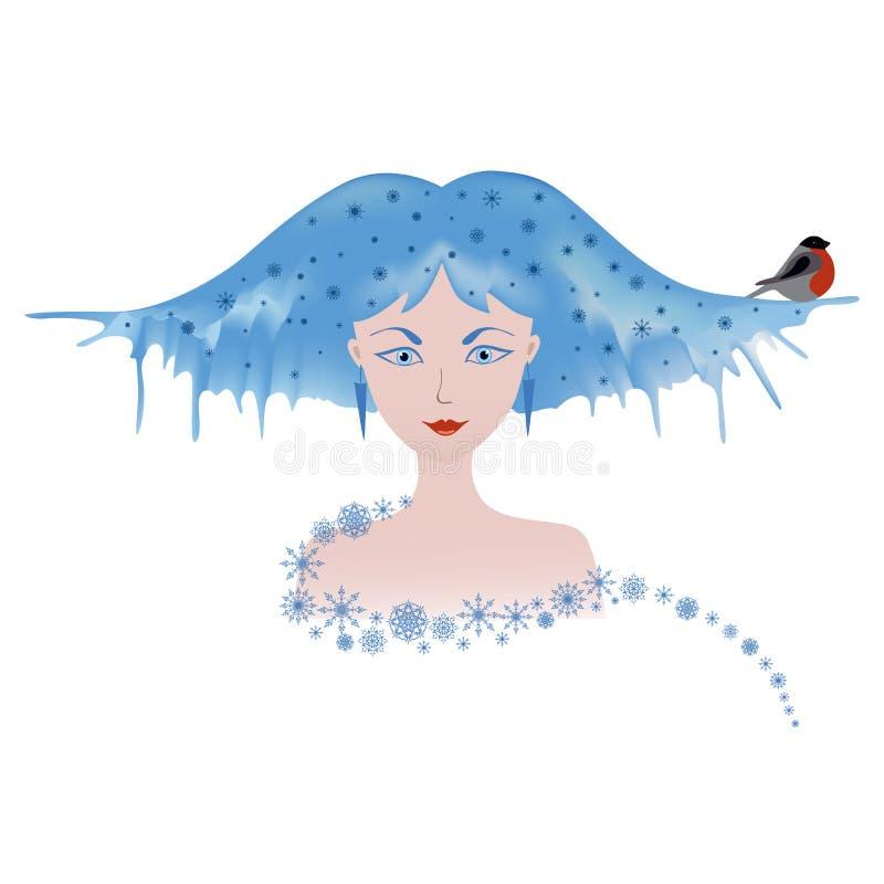 De wintermeisje met goudvink stock illustratie