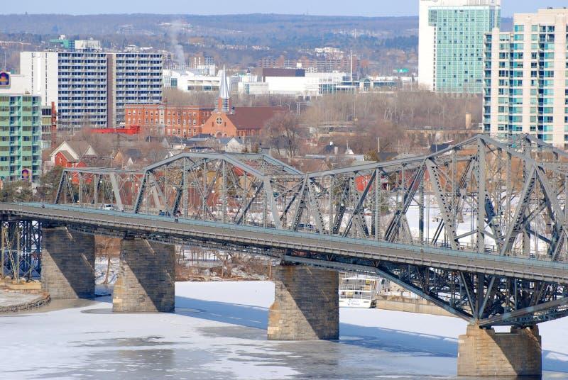 De wintermening van Alexandra Bridge, Ottawa stock afbeelding