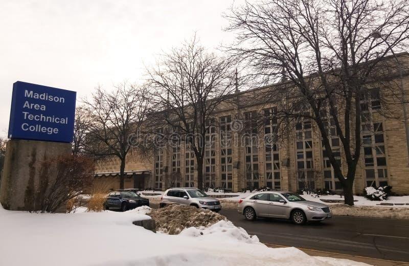 De wintermening van Madison Area Technical College, MATC, in Madison, Wisconsin stock foto