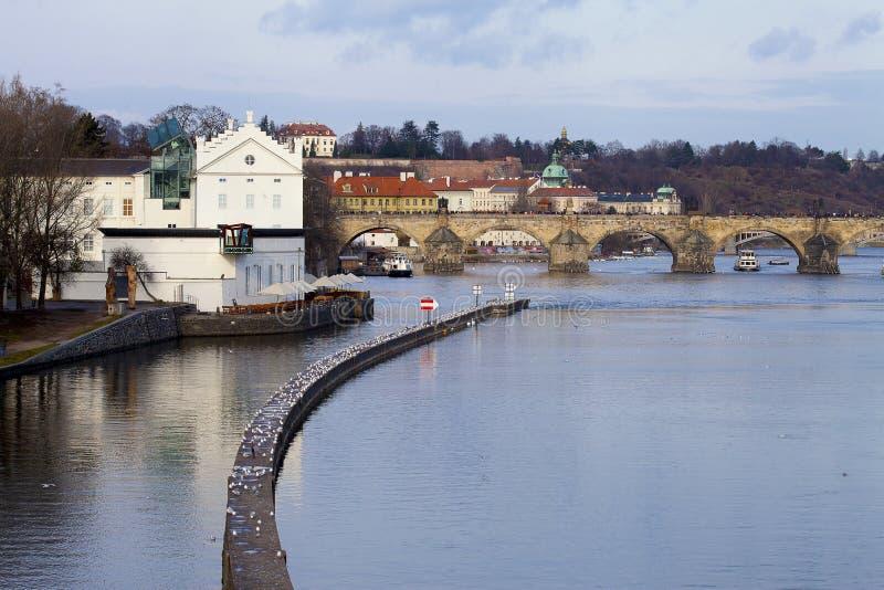 De wintermening van Vltava-Rivier dichtbij Charles Bridge met golfbreker stock afbeeldingen