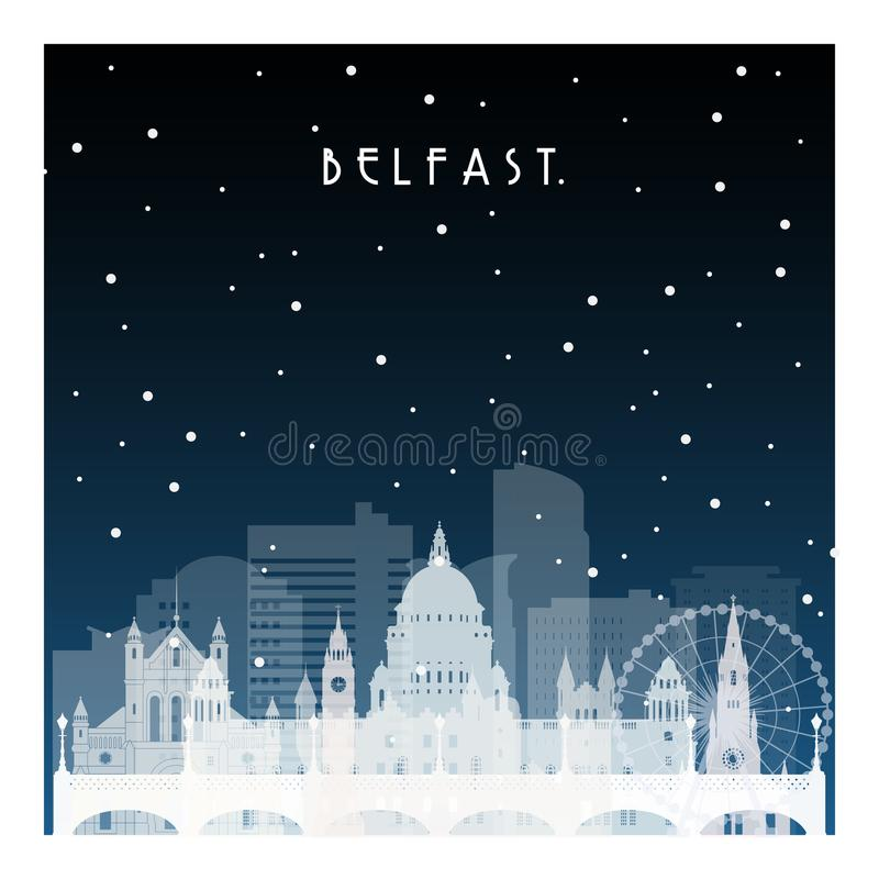 De winternacht in Belfast stock illustratie