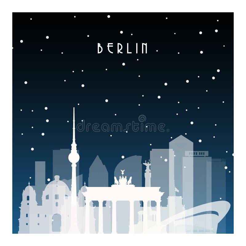De winternacht in Berlijn stock illustratie