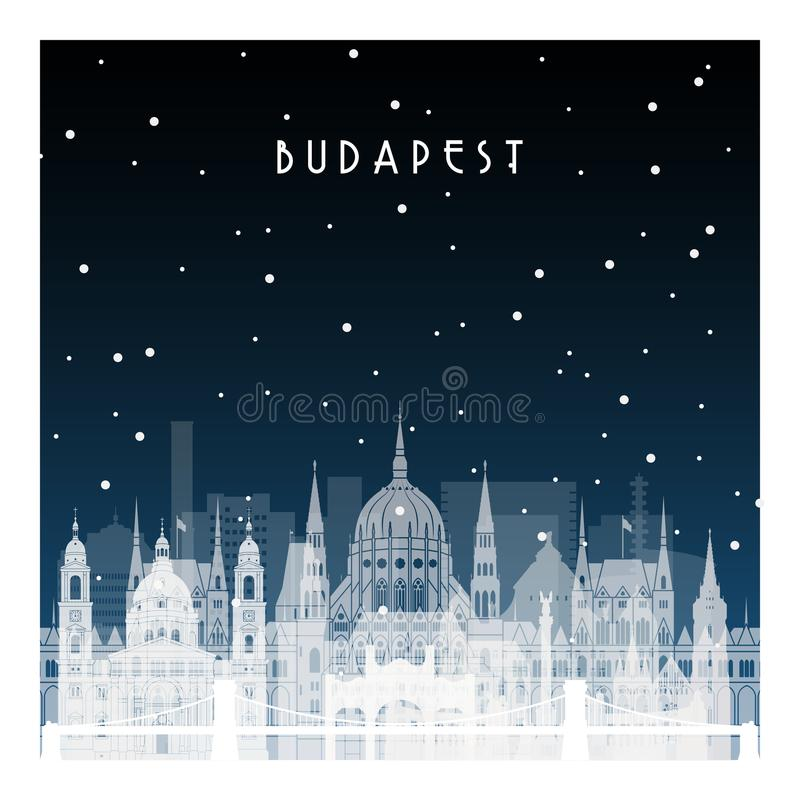 De winternacht in Boedapest stock illustratie