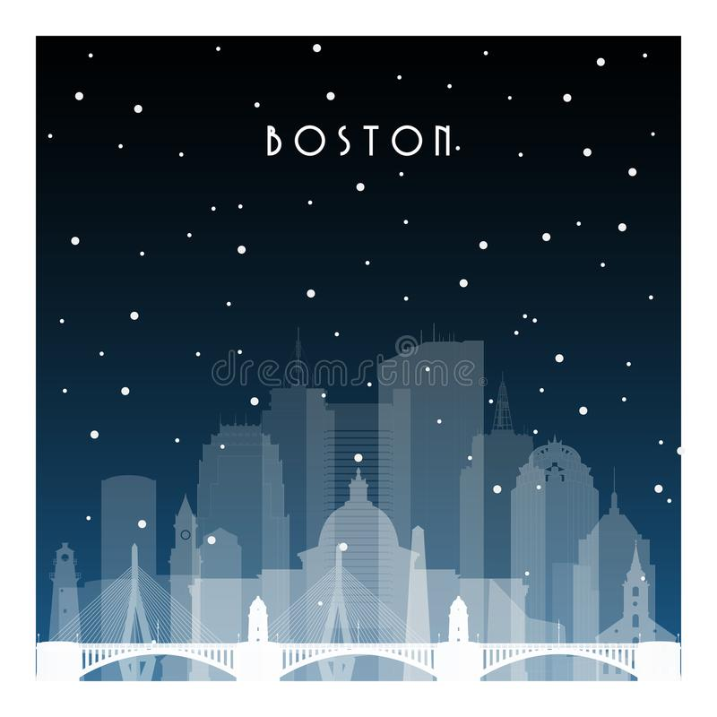 De winternacht in Boston stock illustratie