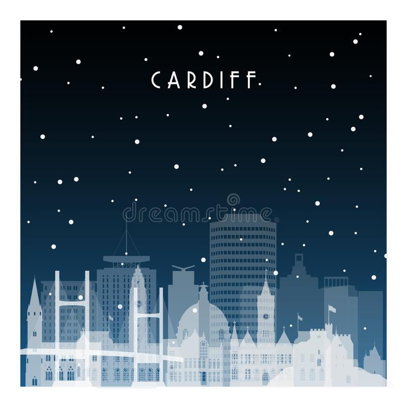 De winternacht in Cardiff stock illustratie