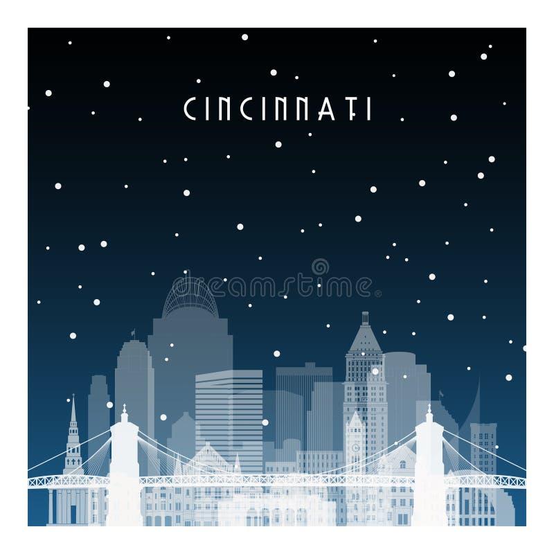 De winternacht in Cincinnati vector illustratie