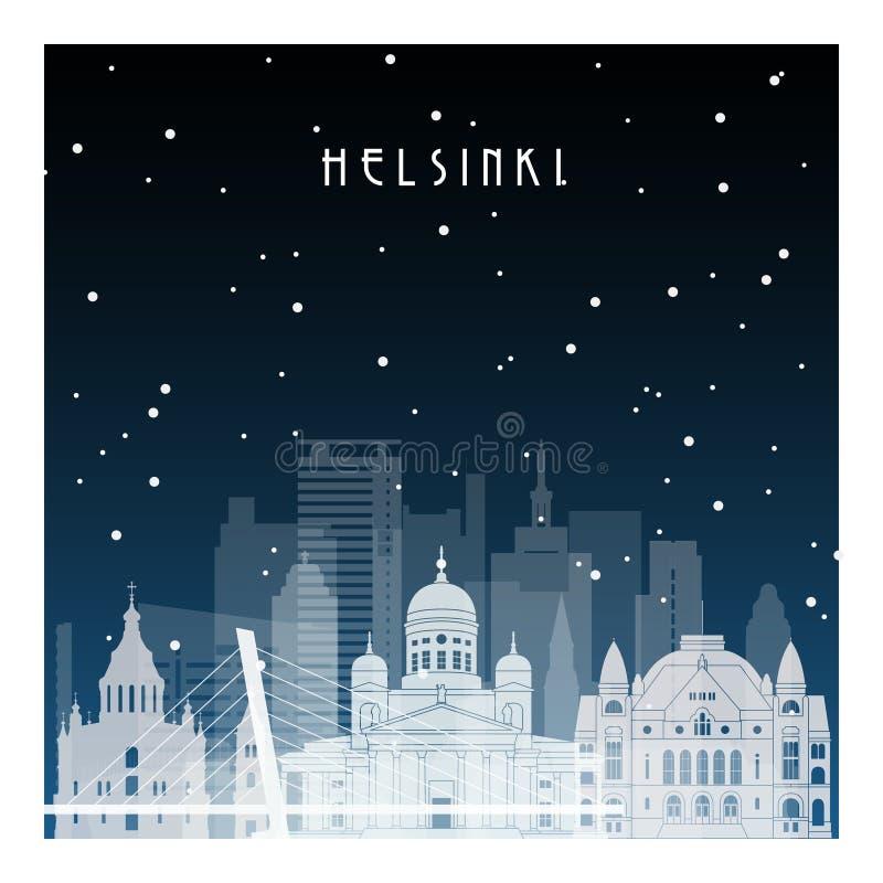 De winternacht in Helsinki stock illustratie