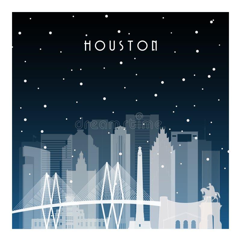 De winternacht in Houston royalty-vrije illustratie
