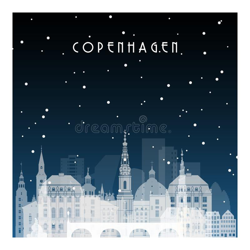 De winternacht in Kopenhagen royalty-vrije illustratie