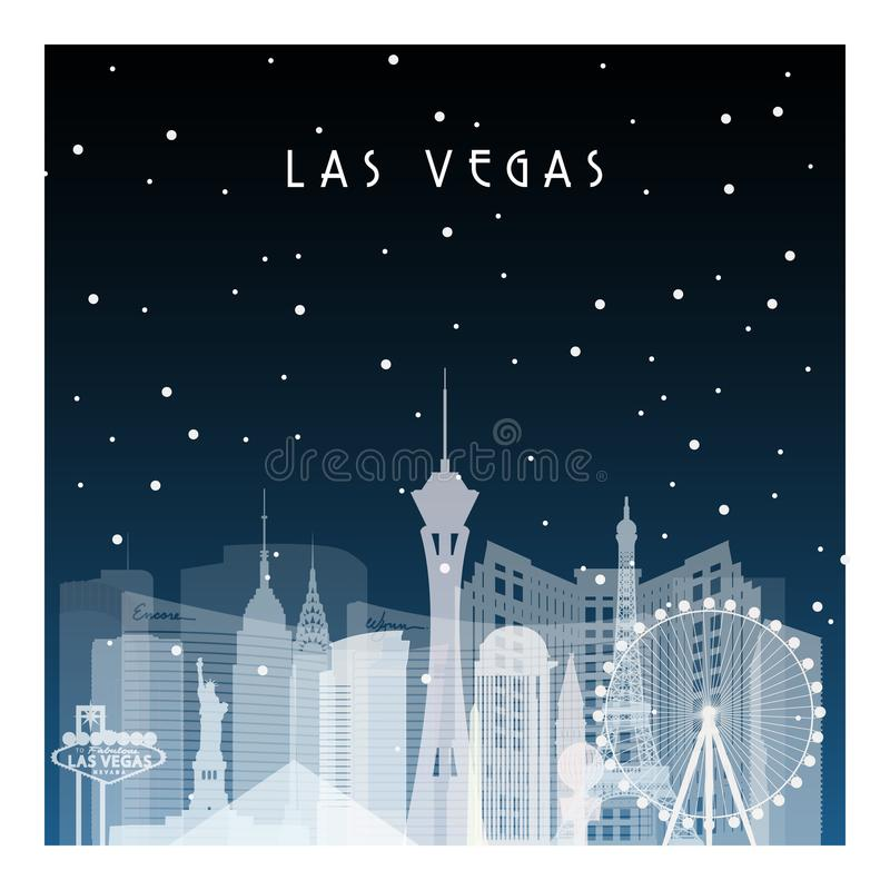 De winternacht in Las Vegas stock illustratie