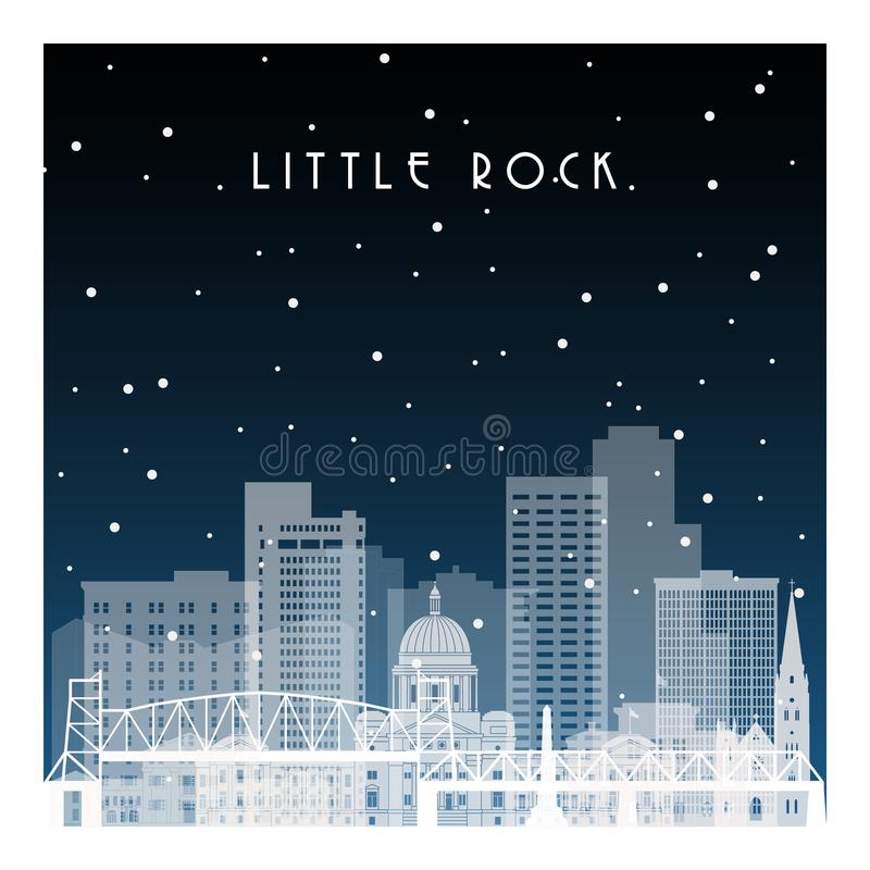 De winternacht in Little Rock stock illustratie