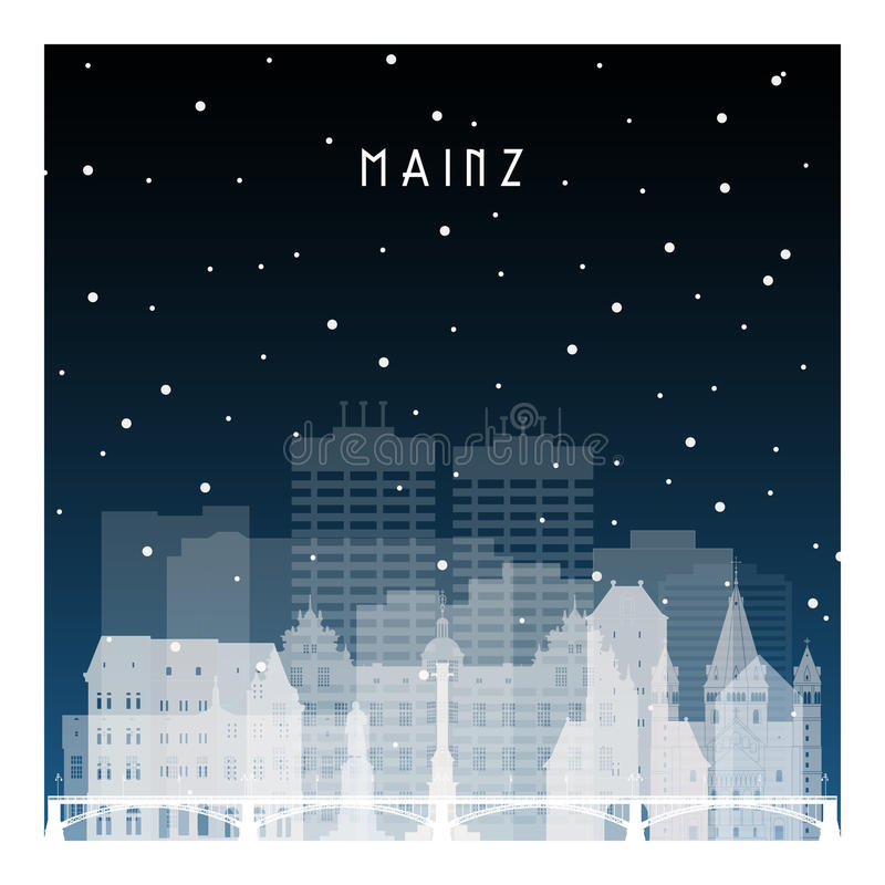 De winternacht in Mainz vector illustratie