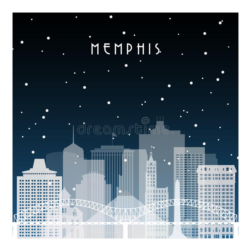 De winternacht in Memphis royalty-vrije illustratie