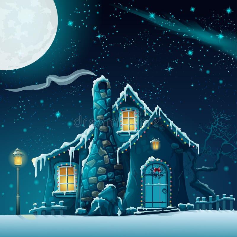 De winternacht met een fabelachtige huis en een lantaarn royalty-vrije illustratie