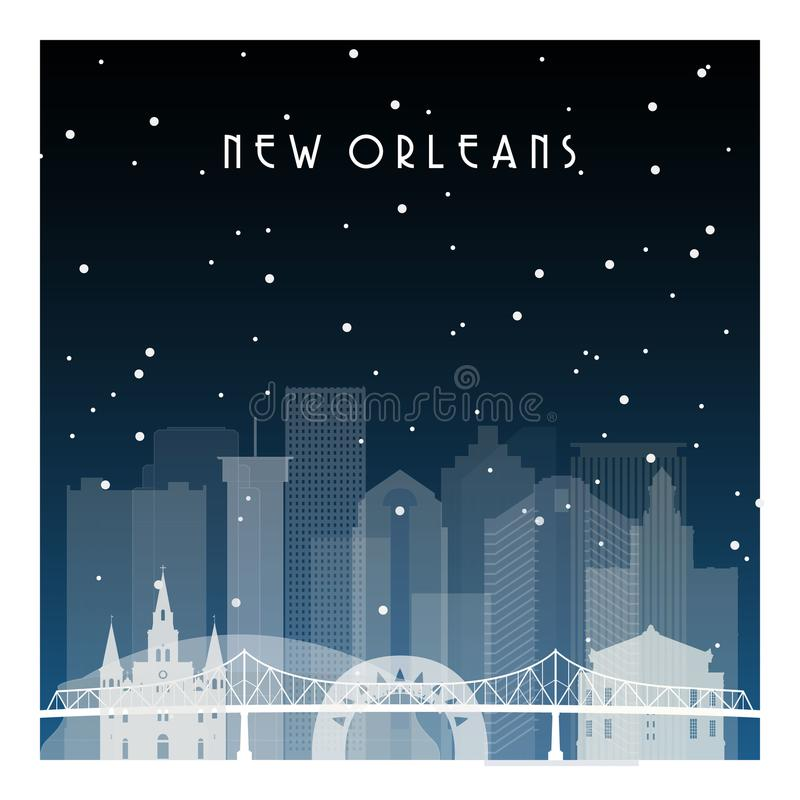 De winternacht in New Orleans vector illustratie