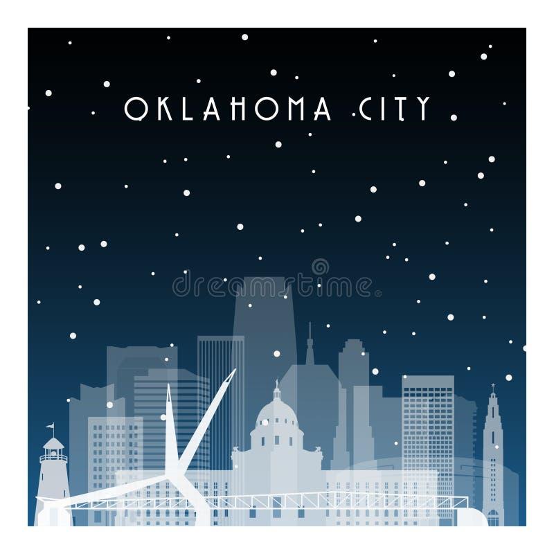 De winternacht in Oklahoma City royalty-vrije illustratie