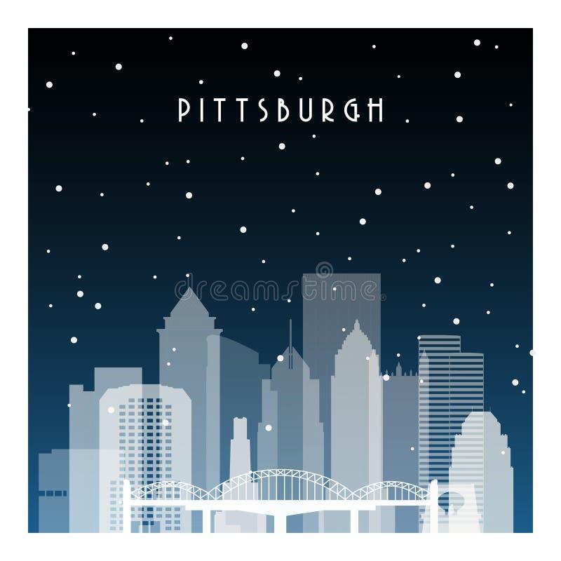 De winternacht in Pittsburgh royalty-vrije illustratie