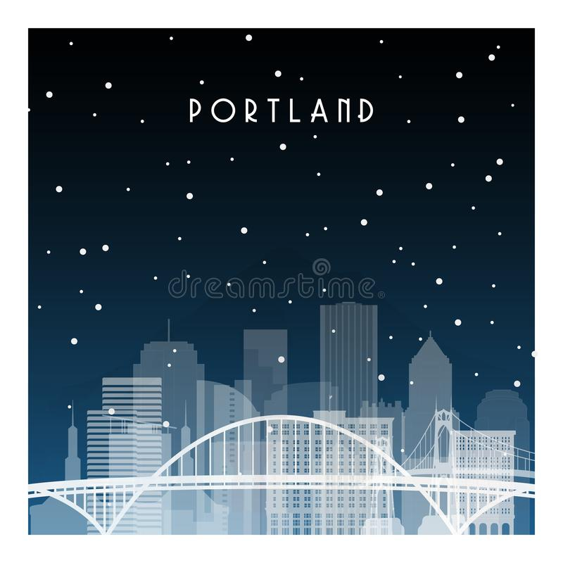 De winternacht in Portland vector illustratie