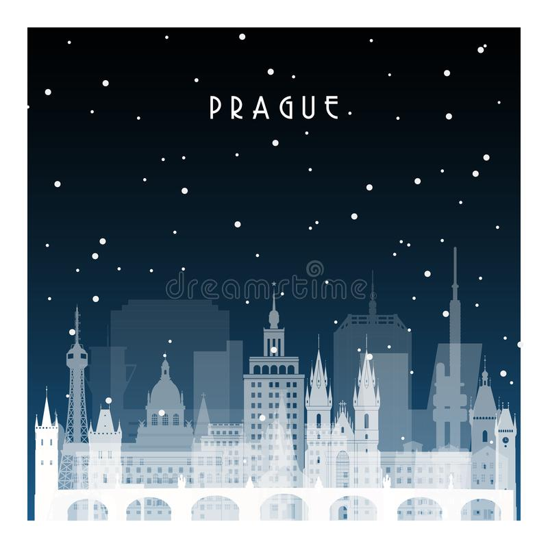 De winternacht in Praag vector illustratie