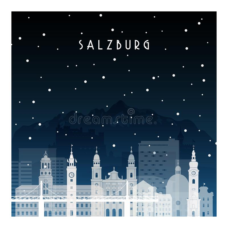 De winternacht in Salzburg vector illustratie